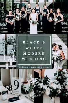 Inspiration For A Sophisticated Modern Wedding Day Black and White Modern Wedding with Candles and Greenery. White Tux, Black Bridesmaid Dresses, Open Back Dress. Elegant and Sophisticated Black Tie Affair. South Congress Hotel in Austin, Texas. Black Bridesmaids, Black Bridesmaid Dresses, Black Wedding Dresses, Black And White Wedding Theme, Black Tie Wedding, Black Wedding Decor, White Tuxedo Wedding, Black And White Wedding Invitations, Spring Wedding
