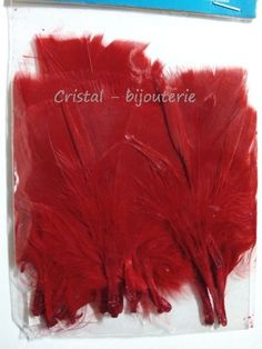 ♥PLU5-01♥ 20 PLUMAS NATURALES TEÑIDAS PUNTA RECTA FEATHER COLOR ROJO 10 CM♥