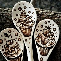 Baking spoons #woodburning #pyrography #cupcake