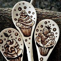 Baking spoons  #woodburning #pyrography #cupcake