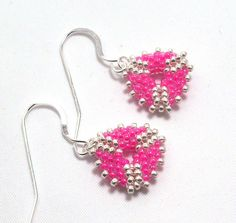 Hot Pink & Silver Mini Triangle Beadwork Earrings