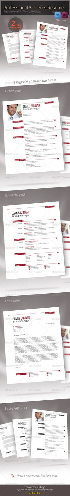 3 Page Resume Portfolio Cover Letter Flyers, Resume and Chang\u0027e 3