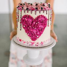 Pretty Cakes, Cute Cakes, Beautiful Cakes, Amazing Cakes, 18th Birthday Cake, Heart Birthday Cake, Heart Shaped Cakes, Rosette Cake, Valentines Day Cakes