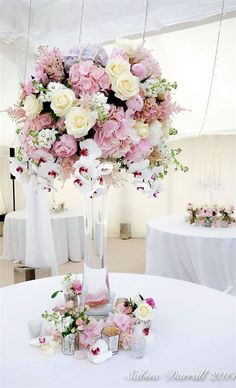 pastel floral tall centerpieces for a wedding