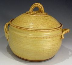 Large Pottery Casserole Dish in Yellow Salt for your by claycoyote