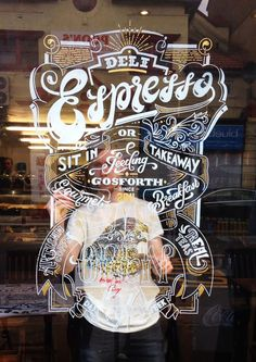 Deli Espresso Window Sign by Ashley Willerton, via Behance