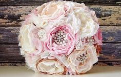 NEW - Fabric Flower Wedding Bouquet, Brooch Bouquet, Fabric Bridal Bouquet, Weddings, Custom Colors, Vintage Wedding