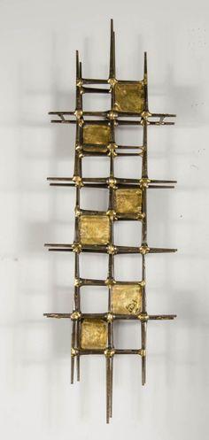 Mid-Century Brutalist Brass Wall Sculpture by Ron Schmidt Metal Sculpture Wall Art, Steel Sculpture, Wall Sculptures, Sculpture Ideas, Stained Glass Panels, Stained Glass Art, Brutalist Furniture, Schmidt, Atomic Decor