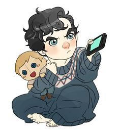 kid sherlock and doll watson so cute :D Sherlock John, Sherlock Holmes, Sherlock Anime, Johnlock, Look Whos Back, Sherlolly, Slash, Benedict Cumberbatch Sherlock, Fan Art