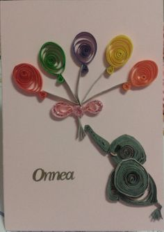 Congratulation card; Baby elephant and balloons by quilling