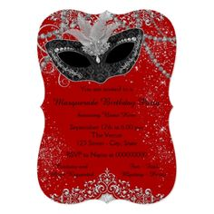 Masquerade Party Invitations Pretty Red and Black Masquerade Party Card