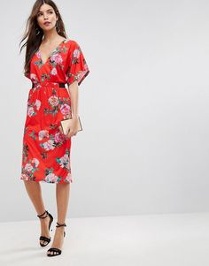 ASOS   ASOS V Neck Midi Dress With Elastic Waist Detail In Red Floral