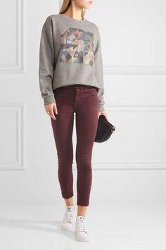 J Brand - Anja Cropped Stretch-sateen Skinny Pants - Burgundy - 28