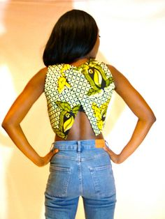 envelope back African print crop top by YINKAALLI Latest African Fashion, African women dresses, African Prints, African clothing jackets, skirts, short dresses, African men's fashion, children's fashion, African bags, African shoes etc.DK