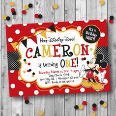 Mickey Mouse Theme One-Year Old Birthday Invitation Design ... Designs by Lea ;-)