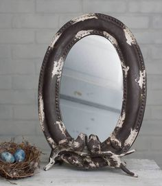 Shabby French Cottage Chic Tabletop Mirror with Songbirds~ Home Decor #Unbranded #FrenchCountry