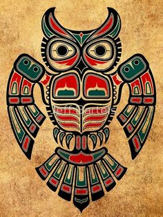 'Red and Teal Blue Haida Spirit Owl' Art Print by jeff bartels Native American Totem, Native American Artwork, Native American Symbols, American Indian Art, Haida Kunst, Arte Haida, Haida Art, Haida Tattoo, Totem Tattoo