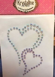 Clear and Lilac Hearts  Crystal Iron On Embellishment Krystaline
