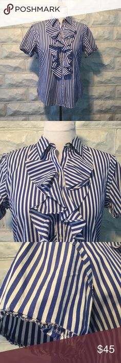 LAUREN RALPH LAUREN: Blue and White Ruffled Blouse NWOT; this short sleeve, button down shirt is fantastic. It has a weathered, shabby chic look upon the edging of the sleeves (see photos). Perfect with a great pair of heels and designer jeans. I purchase this, took off the tags, and it has been hanging in my closet since. This shirt deserves to be loved! Lauren Ralph Lauren Tops Button Down Shirts