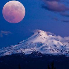 Beautiful Picture of Mt Hood and the moon!!!!
