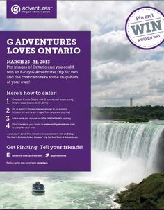 Enter to win an trip for two to Ontario. Travel Contests, Places Around The World, Around The Worlds, New Zealand Tours, Scotland Tours, Australia Tourism, Tours France, Italy Tours, G Adventures