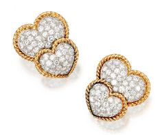 A PAIR OF 18 KARAT GOLD, PLATINUM AND DIAMOND DOUBLE-HEART EARCLIPS, VAN CLEEF & ARPELS, NEW YORK - Sotheby's
