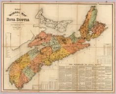 """""""Church's mineral map of Nova Scotia"""" Map Projects, Interesting History, Historical Maps, Nova Scotia, Minerals, Vintage World Maps, Around The Worlds, Explore, David"""
