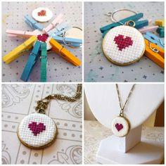 ** Cross Stitch Heart Pendant Jewelry @craftydiybride