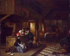 Interior Of An Inn Painting by Hendrik Jan August Leys
