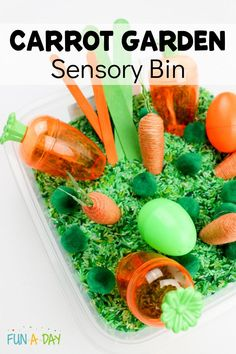 Set up a carrot garden sensory bin for your kids as part of an Easter or preschool garden theme. Includes free printable carrot and rabbit shape cards. Preschool Garden, Free Preschool, Preschool Themes, Preschool Printables, Preschool Winter, Preschool Worksheets, Spring Activities, Activities For Kids, Sensory Activities