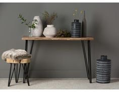RENO - Solid acacia wood console table - Natural