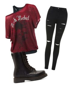 """Outfit #30"" by dark-shadowx ❤ liked on Polyvore featuring Topshop and Dr. Martens"
