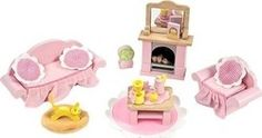 Le Toy Van Daisylane Sitting Room Dollhouse Furniture from The Well Appointed House Wooden Dollhouse, Wooden Dolls, Dollhouse Furniture, Traditional Toys, Non Toxic Paint, Lounge, Cat Doll, Cushion Fabric, Imaginative Play