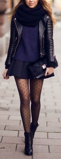 love this streetstyle look, the leather jacket and polkdot tights