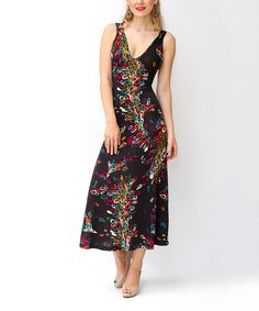Look at this Black & Rainbow Swirl Midi Dress on #zulily today!