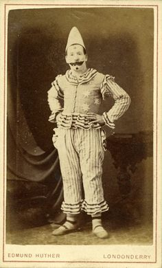 ca. 1869-1900, [carte de visite portrait of a clown in costume], Edmund Huther