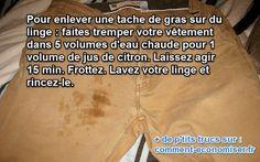 L'Astuce de Génie pour Enlever des Taches de Gras sur le Linge.