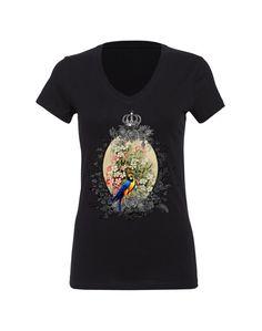 Women's T Shirt Vintage Floral Bird Size S M L XL (13 Colors Available) V-Neck