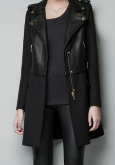 Black Long Sleeve Contrast PU Leather Zipper Trench Coat pictures