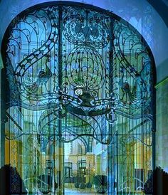 Secessionist Peacock gate of Gresham Palace Four Seasons Luxury Hotel Budapest Hungary