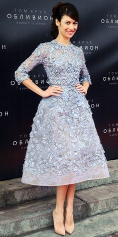 Olga Kurylenko in a lilac Elie Saab Haute Couture floral embroidered dress and patent leather stilettos.
