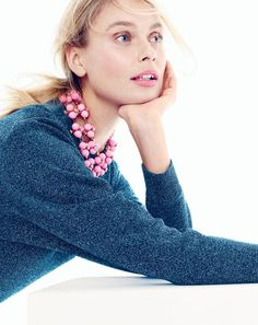 FEB '15 Style Guide: J.Crew women's pop flower necklace in soft peony, crystal foliage necklace, and sparkle crewneck sweater.