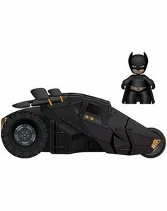 """DC Batman with Tumbler Mini Mezitz by Mezco Toyz. $20.13. Batman can fit inside the famous Tumbler through a secret doorway and still have room for a 2nd passenger.  Wheels do not move.. The Tumbler first entered the Batman universe when it appeared in Batman Begins and its military utilitarian design has made it a fan favorite, a unique film accurate 6 wheel design. This 2"""" figure feature all the coolness and articulation of his larger counterpart at 1/3 the size.. B..."""