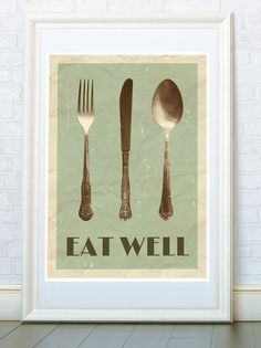 Eat Well Kitchen print Fork Spoon Knife retro by ReStyleGraphic, $18.00