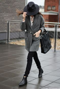 Shop this look on Lookastic:  http://lookastic.com/women/looks/hat-dress-shirt-coat-belt-tote-bag-skinny-jeans-ankle-boots/7720  — Black Wool Hat  — White Dress Shirt  — Charcoal Coat  — Black Studded Leather Belt  — Black Leather Tote Bag  — Black Ripped Skinny Jeans  — Black Leather Ankle Boots