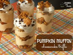 Pumpkin Muffin Cheesecake Trifle. To make this a little bit lighter, I would make my own pumpkin chocolate chip muffins using the weight watchers cake recipe (box mix + pumpkin puree).