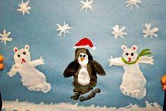 footprint snowmen, polar bears and penguins