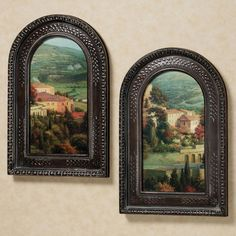Handcrafted Italian Overlook Framed Wall Art Set features faux canvas prints with two different perspectives on the scene of a Tuscan villa and valley below. Wall Art Sets, Framed Wall Art, Wall Art Decor, Tuscan Wall Decor, Framed Prints, Mediterranean Architecture, Mediterranean Style Homes, Rustic Italian, Italian Home