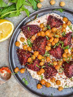 Spiced beetroot & chickpeas with harissa yoghurt