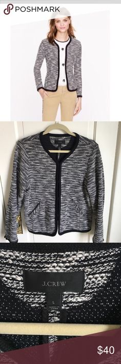 J. Crew stretch boucle sweater jacket Classy and comfortable J. Crew stretch boucle jacket in black and white. Very Chanel-esque. Excellent used condition with minimal pilling on black trim as shown in pics. Wonderful, versatile piece! J. Crew Jackets & Coats Blazers